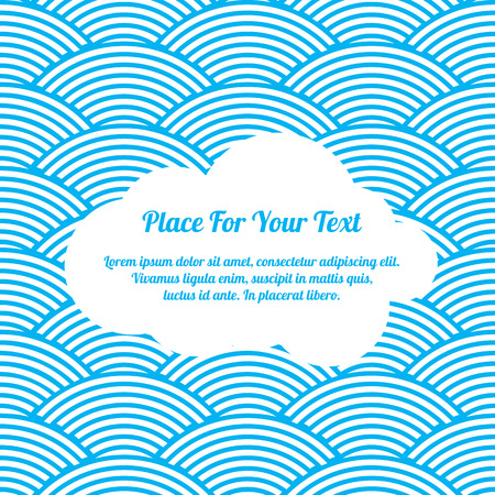 illustration of white paper cloud on a blue seamless waves abstract pattern Illustration