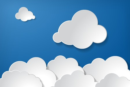 tranquil illustration of clouds collection on the blue sky background