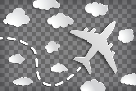 paper airplane with clouds on a chequered air background.  Chequered sky travel background.