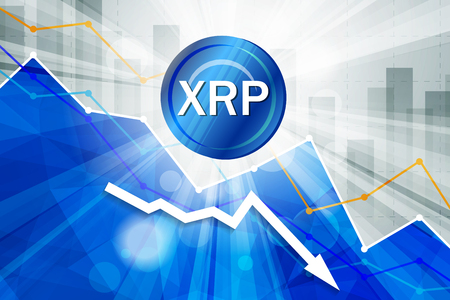 Ripple cryptocurrency in the bright rays on background with statistics chart and arrow going down Illustration