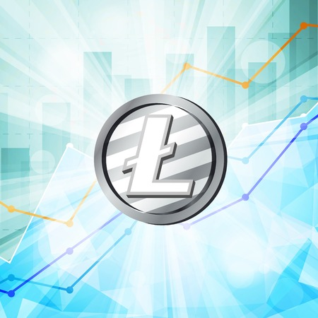 Silver litecoin coin cryptocurrency in the bright rays with statistics chart