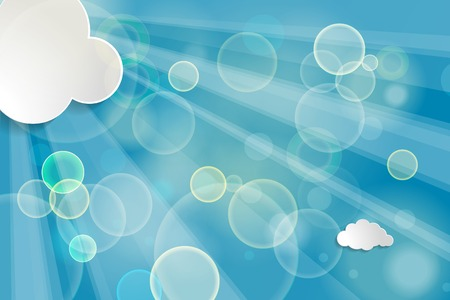 Abstract background with sun rays and clouds on a blue background