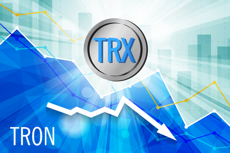 Tron cryptocurrency in the bright rays on background with statistics chart and arrow going down