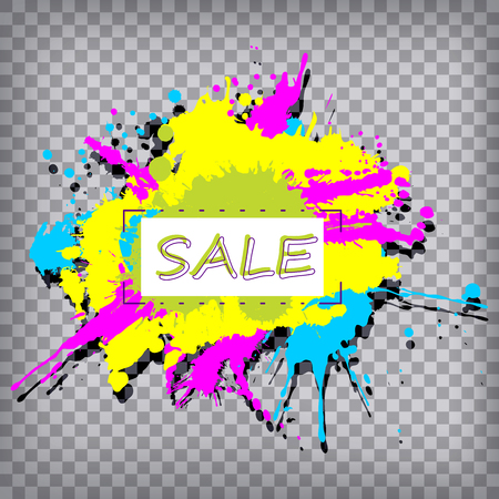 Abstract sale banner with colourful splashes on chequered background