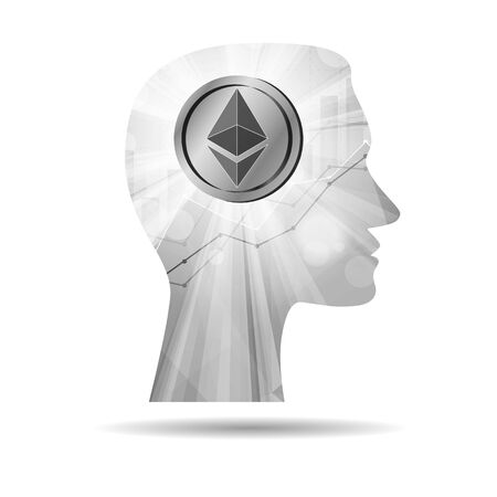 Grey ethereum cryptocurrency coin in bright rays with statistics chart in silhouette of male head