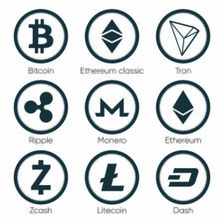 Flat cryptocurrencies icons of zcash, dash, tron, bitcoin, ethereum, ripple, monero and litecoin on white background. Symbols for ui, web, social media designs