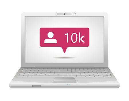 illustration of flat pink ten chiliad like followers social media icon on screen of laptop Vektoros illusztráció