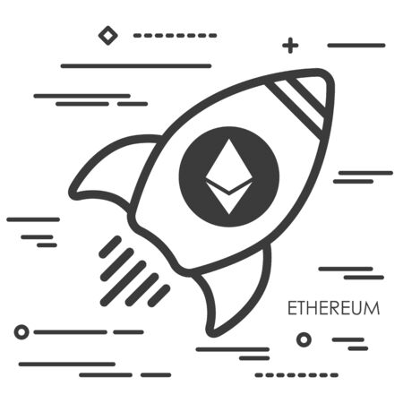 Flat thin linear concept illustration of rocket with ethereum cryptocurrency icon Иллюстрация