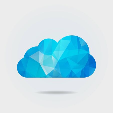 Vector illustration of triangle paper cloud on grey background