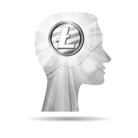 Grey litecoin crypto currency coin in bright rays with statistics chart in silhouette of male head