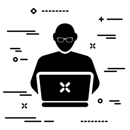 Thin lineart developer or coder icon on white background