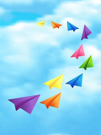 Set of flying color paper planes in the blue sky with white clouds background