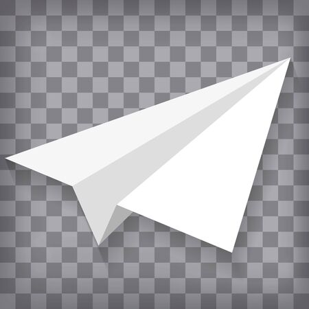 White paper plane isolated on chequered background