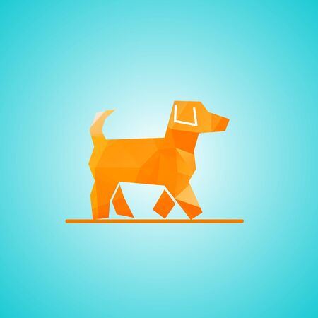 Yellow dog in triangular style icon. Celebration blue background with dog and place for your text Illusztráció