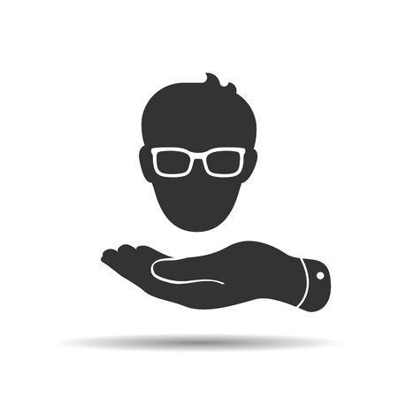 flat hand showing man head with glasses icon in trendy flat style isolated on white background