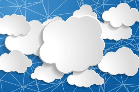 tranquil illustration of white paperclouds collection on wire network blue sky background