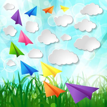 Set of flying color paper planes with white paper clouds on green spring nature lawn landscape background
