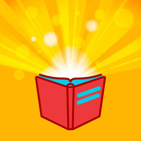flat Line design graphic image concept of red open book icon on sunburst or flash rays golden background