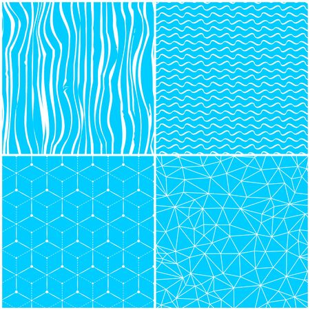 collection of blue different abstract triangle waves polygonal seamless patterns