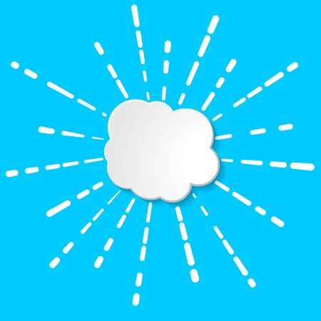 white paper cloud with  linear rays of firework, flash or sun illustration on a blue background Banque d'images - 130588072