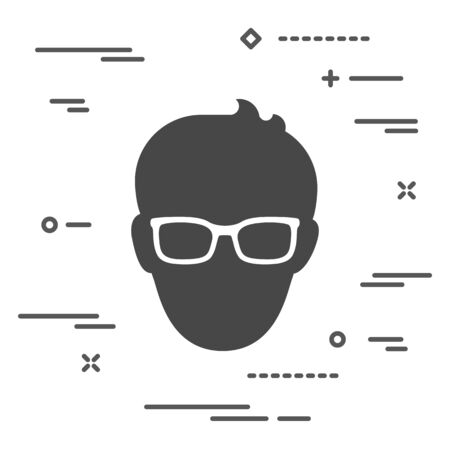 Man with glasses icon over white background with lines
