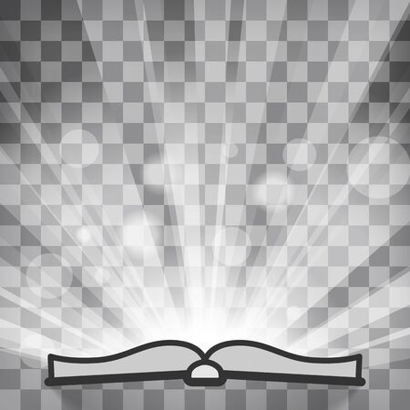 flat Line design graphic image concept of silhouette of open book icon on sunburst or flash rays chequered background