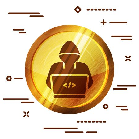 bright golden wooden icon with hacker or coder symbol on white background