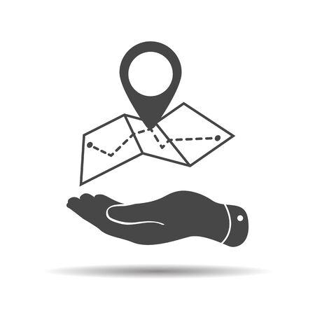 flat hand showing Map icon in trendy flat style isolated on white background