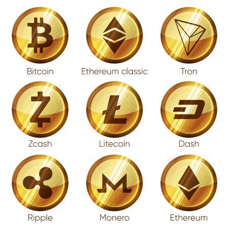 Flat golden wooden cryptocurrencies icons of zcash, dash, tron, bitcoin, ethereum, ripple, monero and litecoin on white background. Symbols for ui, web, social media designs Ilustração