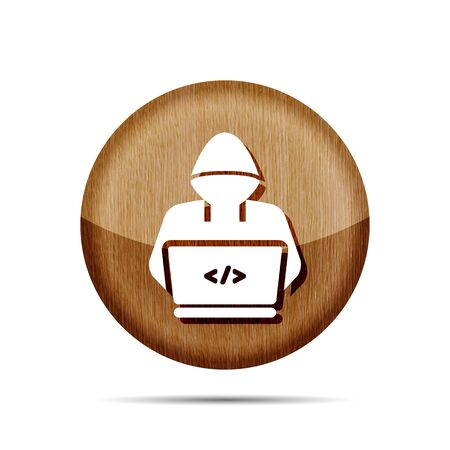 wooden icon with hacker or coder symbol on white background Çizim