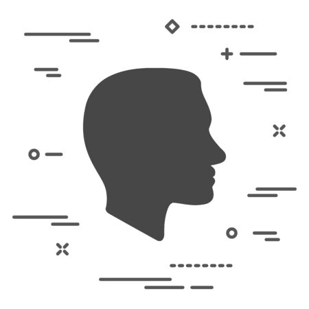 Flat Line art design graphic image concept of Face profile icon on a white background Illustration