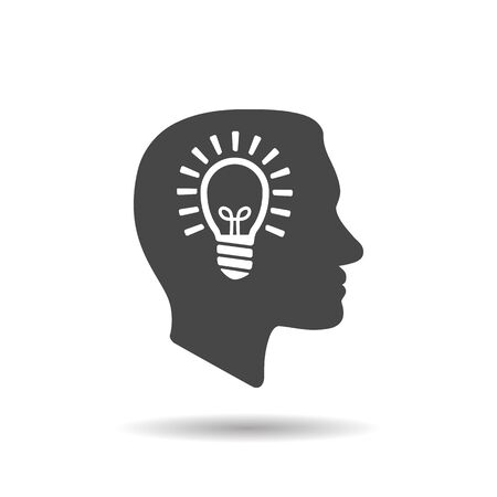 man profile head view with light lamp bulb inside in trendy flat style isolated on white background