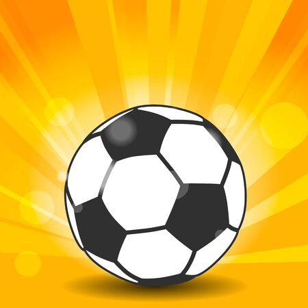soccer ball icon with shadow and flash rays on yellow background Çizim