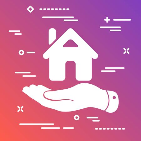 white flat hand showing the icon of home on the modern colorful gradient background