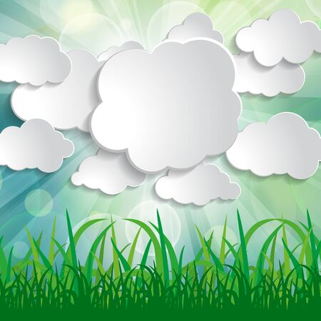 white paper clouds with sun rays and grass silhouettes on blurred spring natural background Ilustracja