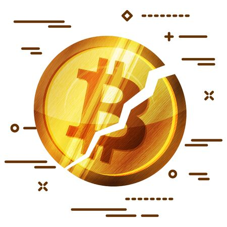 Broken bitcoin cryptocurrency on white background. Cryptocurrency falling crisis concept Illustration