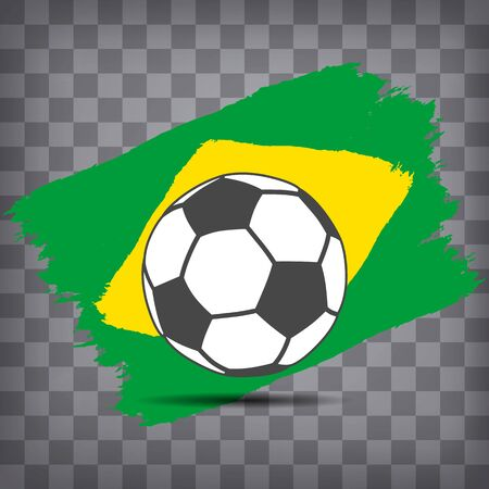 football ball icon on Brazilian flag background from brush strokes in grunge style on dark transparent chequered background