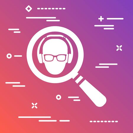 flat icon in the form of a magnifying glass marketer looking for a targeted user in glasses and headphones on colorful modern gradient background