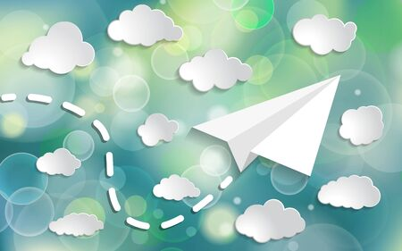 paper airplane with paper clouds  in the blue sky with twinkle lights on blue background