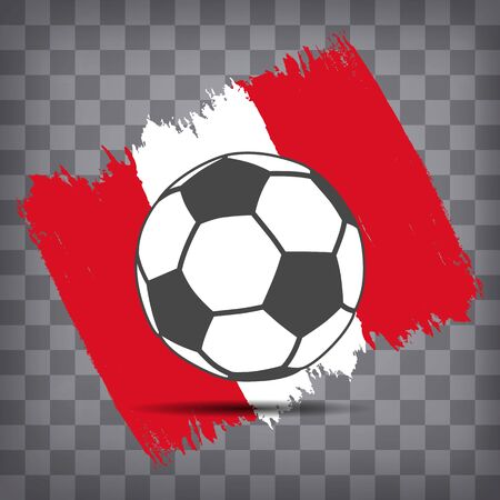 football ball icon on Peruvian flag background from brush strokes in grunge style on dark transparent chequered background Фото со стока - 146855916