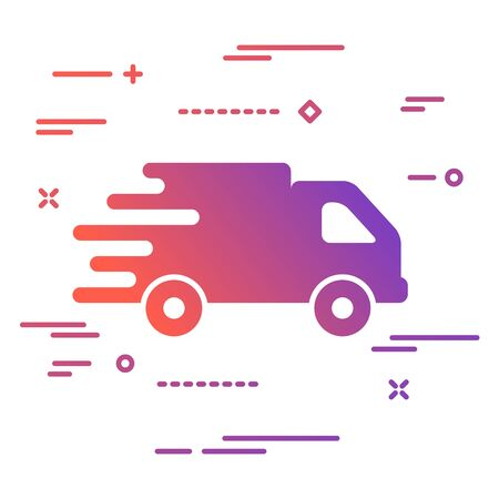 colorful faster flat truck icon button on a white background Иллюстрация