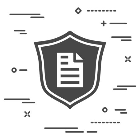 conceptual image of document protection on a personal computer. flat shield with paper page icon on a white background