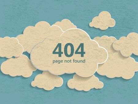 404 error page not found illustration of abstract creative vintage concept clouds collection on a blue background. Flat line illustration page not found concept  イラスト・ベクター素材