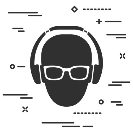 Flat man head with glasses and headphones icon on white background Vettoriali