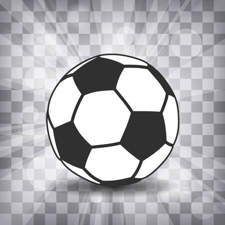 soccer ball icon with shadow and flash rays on a chequered background Çizim