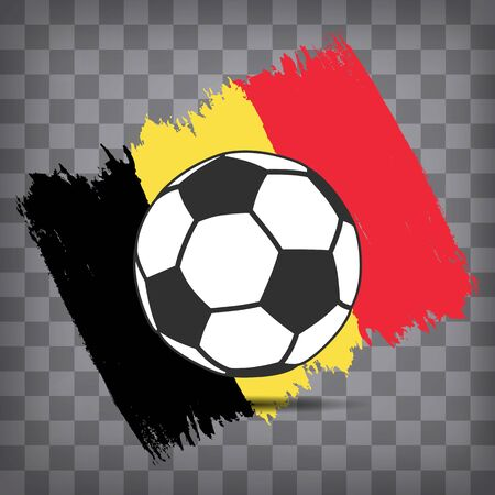 football ball icon on Belgian flag background from brush strokes in grunge style on dark transparent chequered background