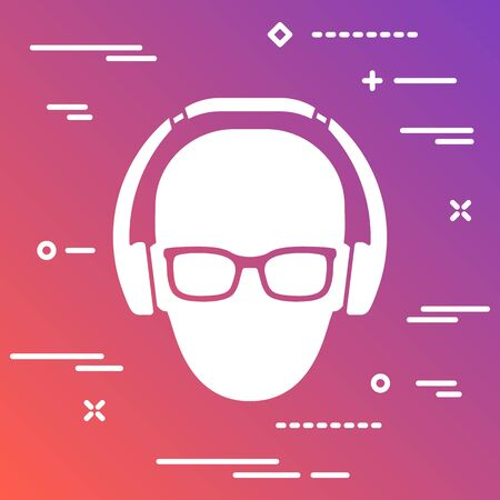 Flat white music fan with glasses and headphones icon on colorful modern gradient background Vettoriali