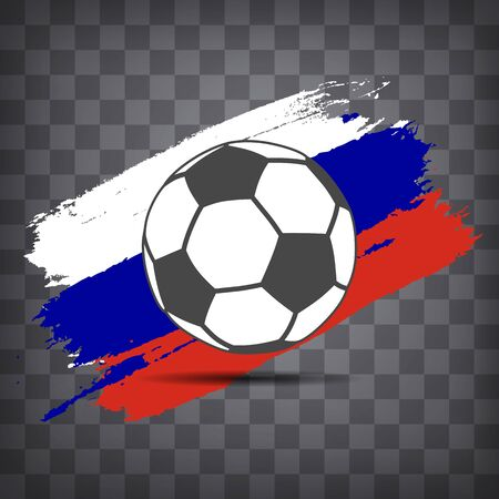 football ball icon on Russian flag background from brush strokes in grunge style on dark transparent chequered background Фото со стока - 146855932