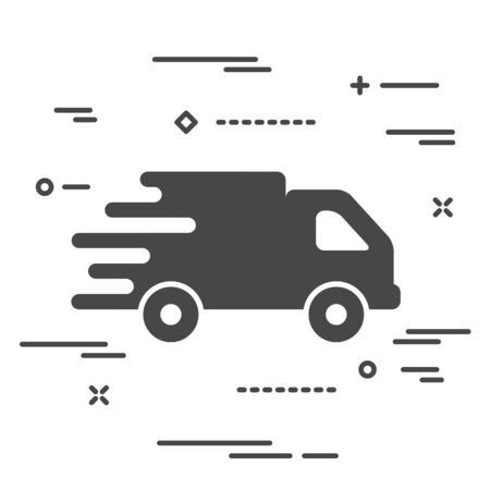 faster flat truck icon button on a black background Иллюстрация