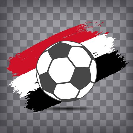 football ball icon on Egyptian flag background from brush strokes in grunge style on dark transparent chequered background